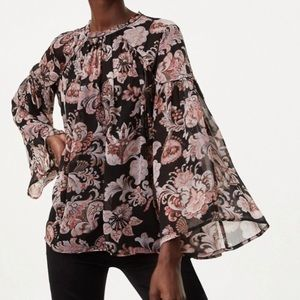 LOFT Floral Belle Sleeve Blouse